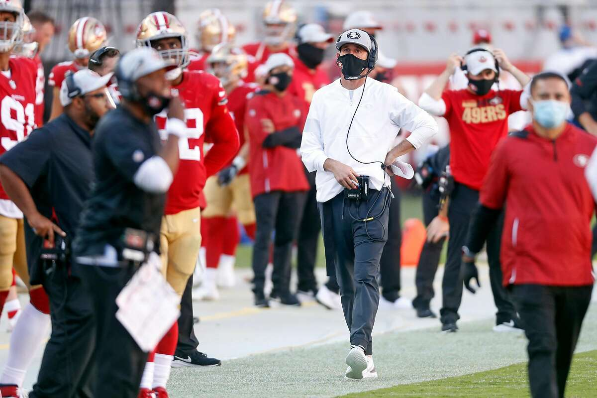 San Francisco 49ers' head coach Kyle Shanahan in 4th quarter of Miami Dolphins' 43-17 win in NFL game at Levi's Stadium in Santa Clara, Calif., on Sunday, October 11, 2020.