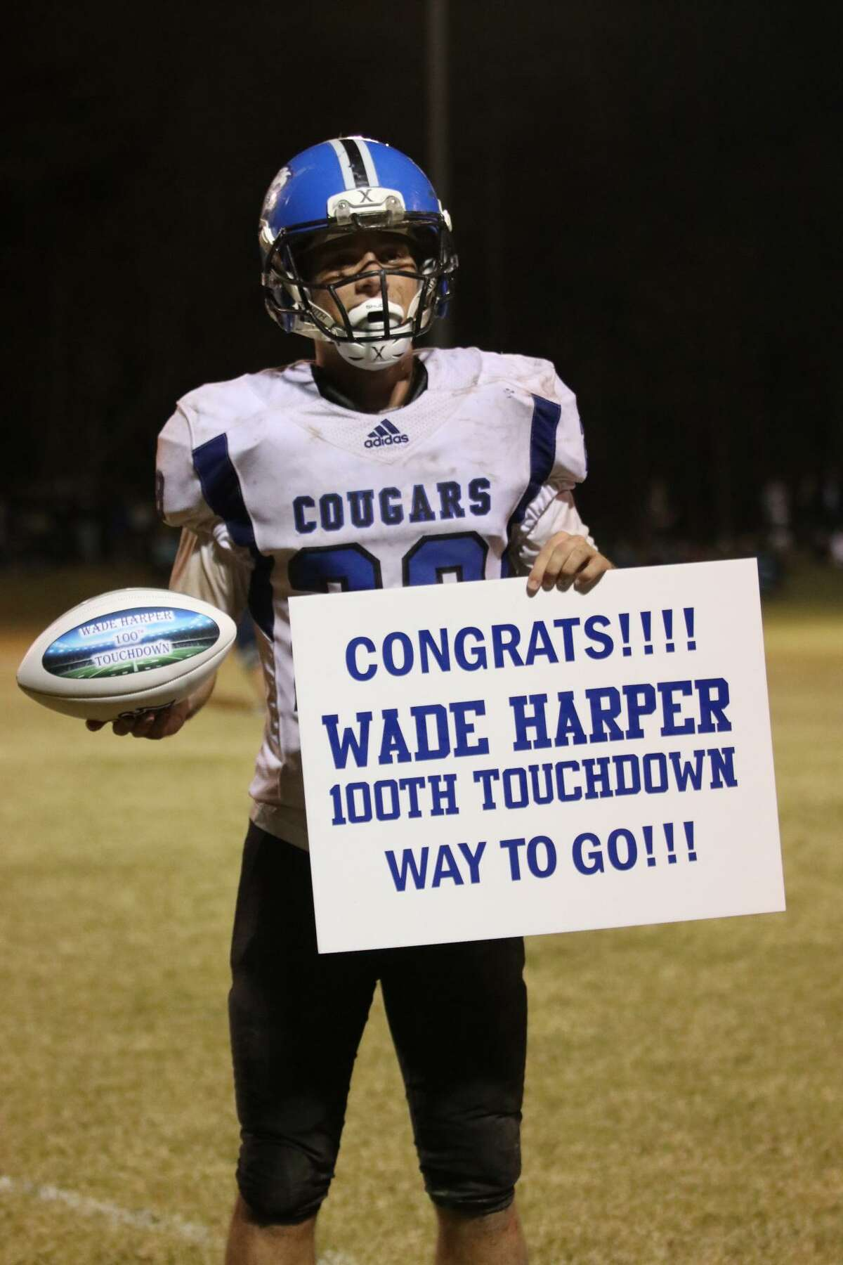 Covenant running back Wade Harper reached 100 touchdowns for his career on Friday night against Huntsville Alpha Omega.