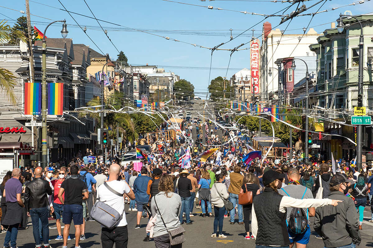 Streets closed as large crowds gathered in the Castro to celebrate Vice President Biden and Senator Kamala Harris' win in the 2020 presidential election.