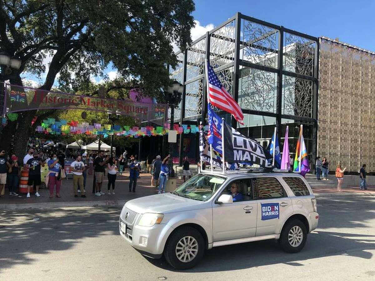 Joe Biden supporters celebrating near San Antonio's Historic Market Square Saturday afternoon.
