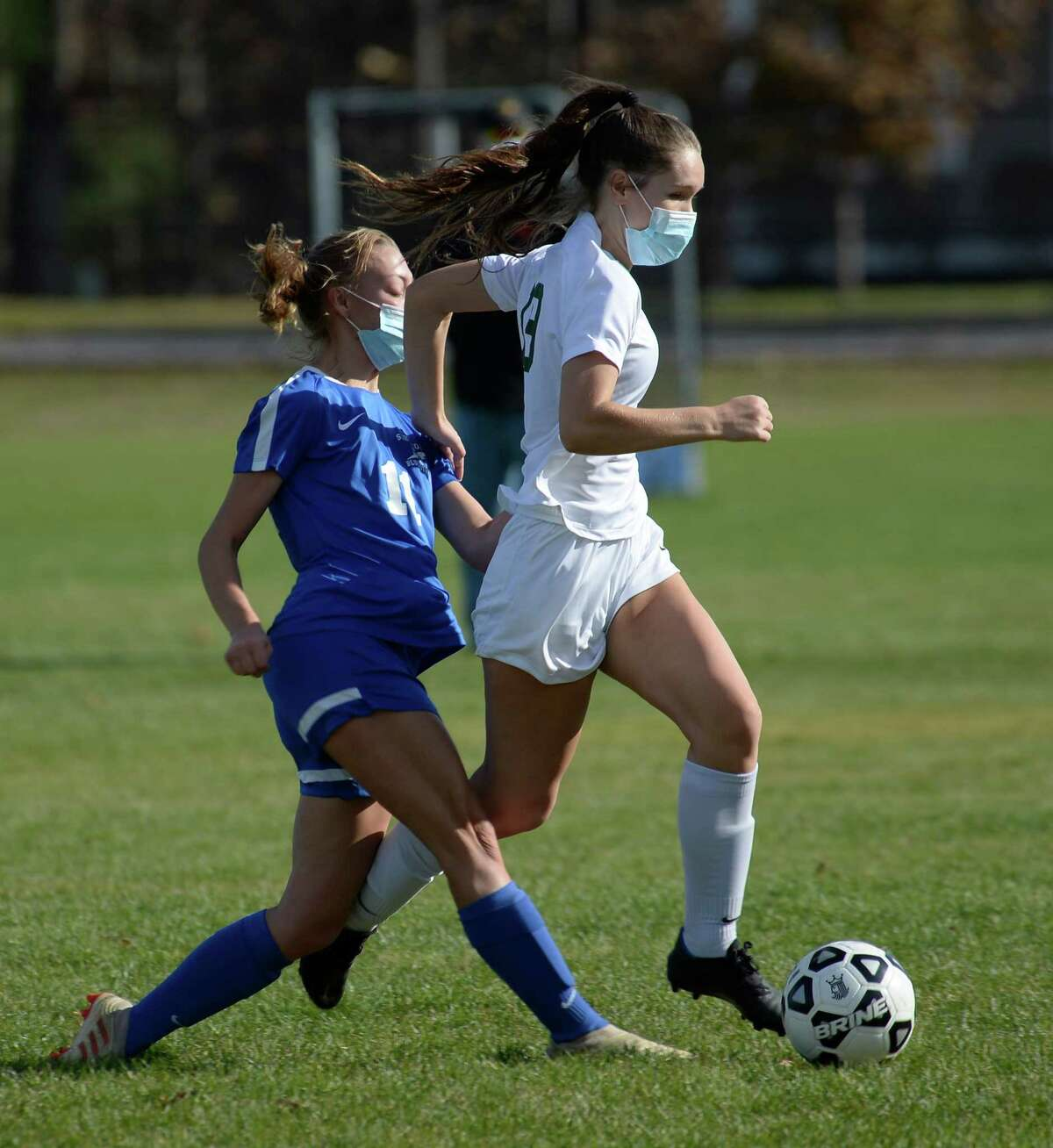 Saratoga?•s Hailey Baldwin collides with Shen?•s Shayla Smith during a game Saturday, Nov. 7, 2020, at Saratoga Springs High School in Saratoga Springs, N.Y. (Jenn March, Special to the Times Union )