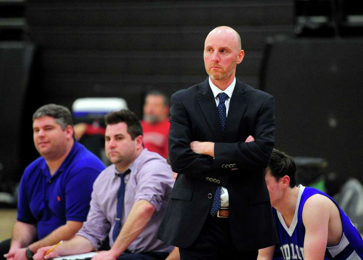 Fairfield Ludlowe boys coach John Dailey during a game against Trumbull in January.