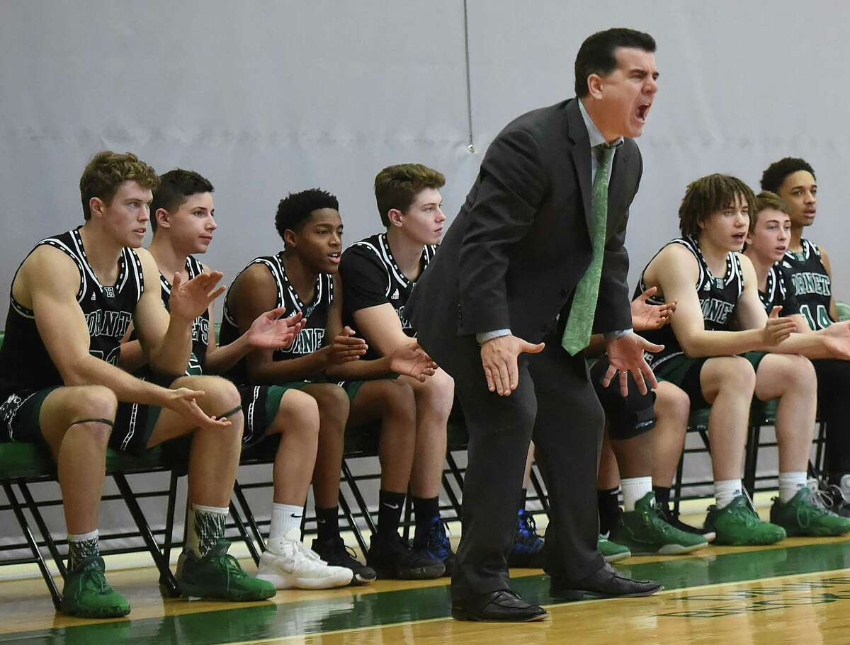 Hamden Hall boys coach Sean Doherty on the sidelines against St. Luke's-New Canaan during a game in 2018.