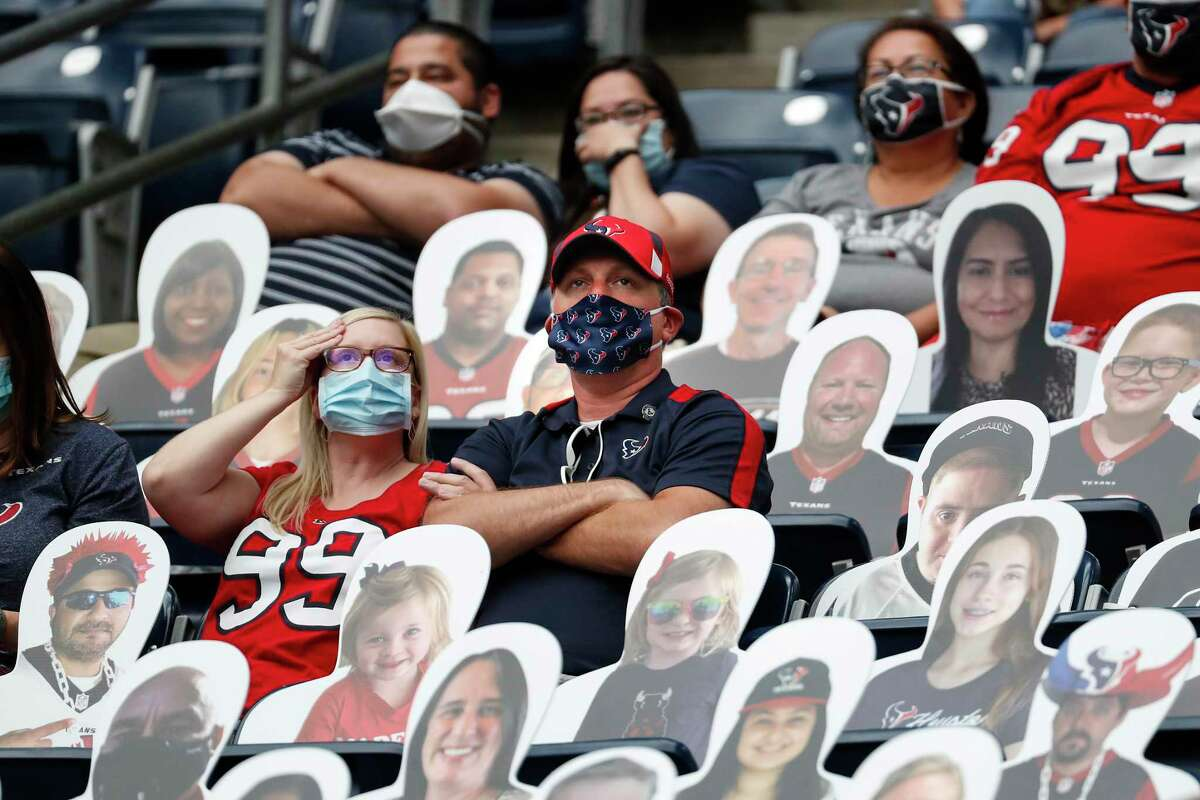 The NFL has found a way to keep playing, even if in front of limited numbers of fans amid cardboard cutouts such as these at NRG earlier this season.