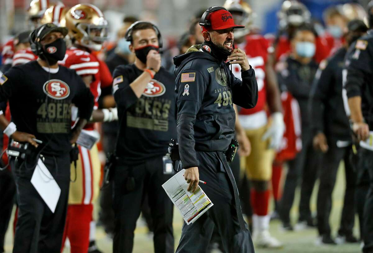 San Francisco 49ers' head coach Kyle Shanahan reacts to a pass interference penalty by Niners in 2nd quarter against Green Bay Packers during NFL game at Levi's Stadium in Santa Clara, Calif., on Thursday, November 5, 2020.