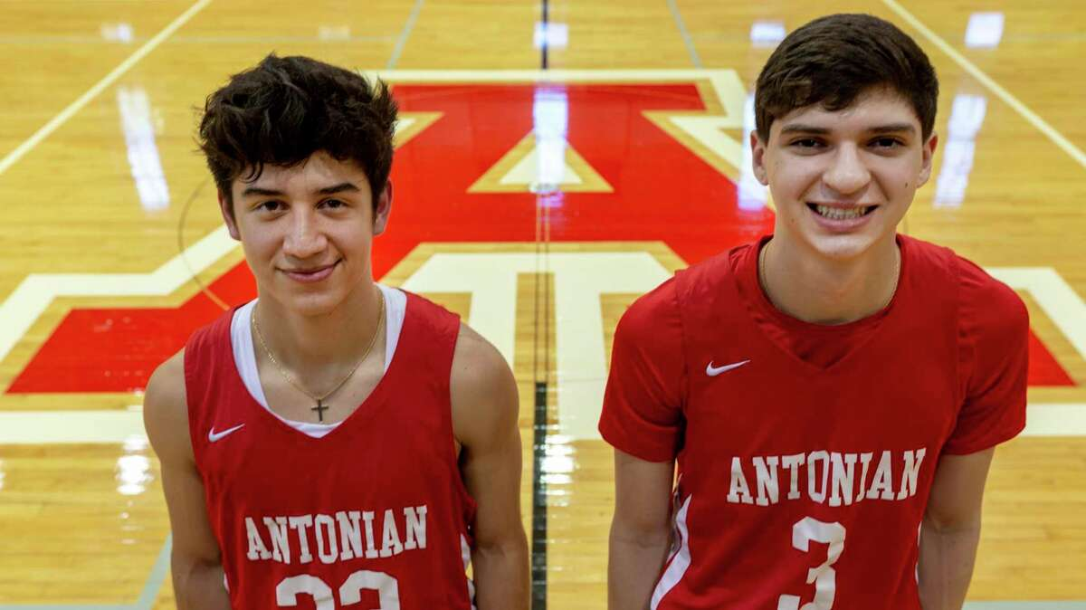 Xavier Martinez, left, and Gavino Ramos pose Thursday, Nov. 5, 2020 in the Antonian High School gym. After winning the state championship two years ago, Antonian fell short of a repeat in last season's state title game. As the season is set to open, the Apaches look to return to the top.
