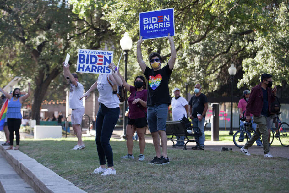 After Democrat Joe Biden beat President Donald Trump on Saturday to become the 46th president of the United States, San Antonians hit the streets to celebrate. Photo: B. Kay Richter