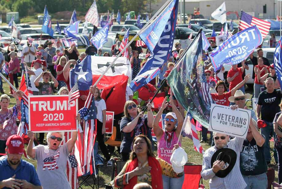 """Supporters of President Donald Trump cheer during a """"Defend Our President"""" rally at the Montgomery County Fairgrounds, Saturday, Nov. 7, 2020, in Conroe. Photo: Jason Fochtman, Houston Chronicle / Staff Photographer / 2020 © Houston Chronicle"""