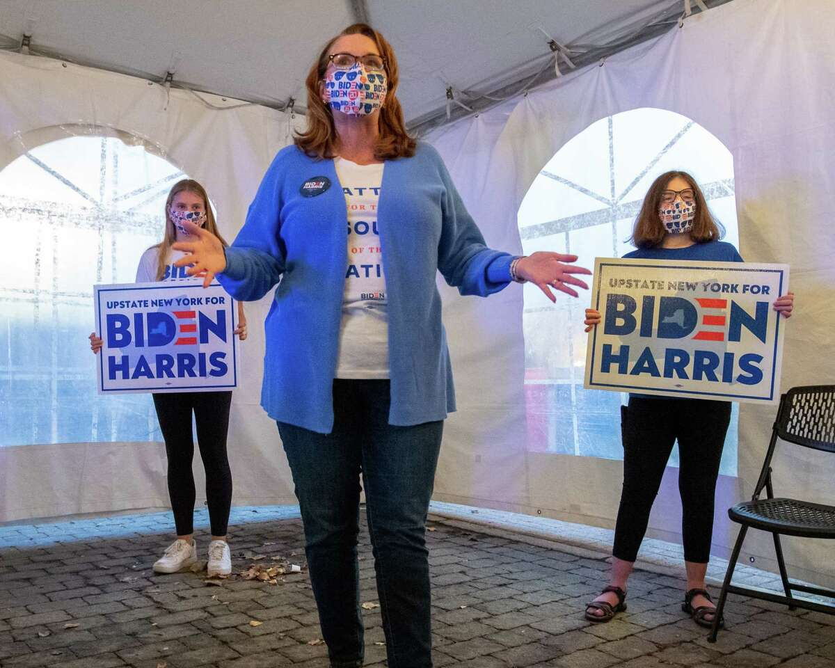 Denise Murphy McGraw, chair of Upstate New York for Biden, during a victory party at McGeary's Pub on Clinton Avenue in Albany, NY, on Nov. 7, 2020 (Jim Franco/special to the Times Union.)