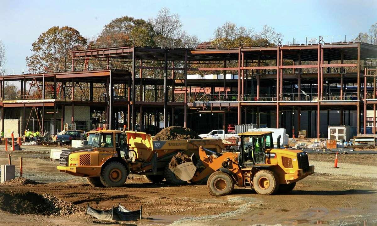 Construction continues on the new Platt Tech High School in Milford, Conn., on Thursday Nov. 5, 2020.