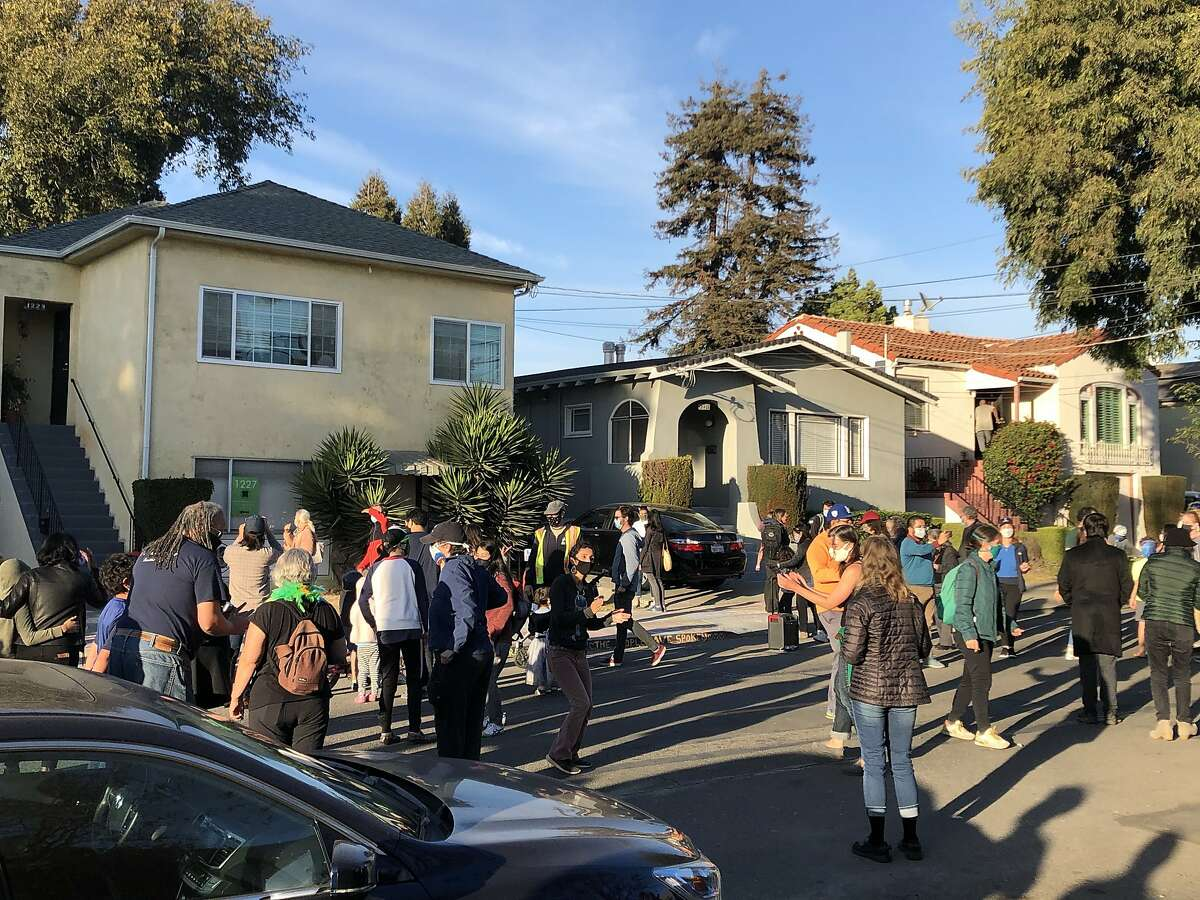 A celebration broke out at Kamala Harris' childhood home in Berkeley on Saturday after the election was called for the Biden-Harris ticket.