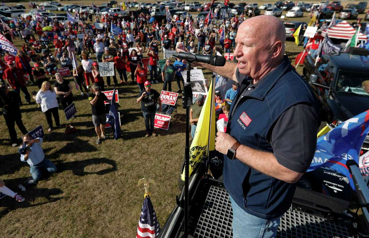 """As Congressmen Kevin Brady, R-The Woodlands, addresses a crowd of several hundred people during a """"Defend Our President"""" rally at the Montgomery County Fairgrounds, Saturday, Nov. 7, 2020, in Conroe."""