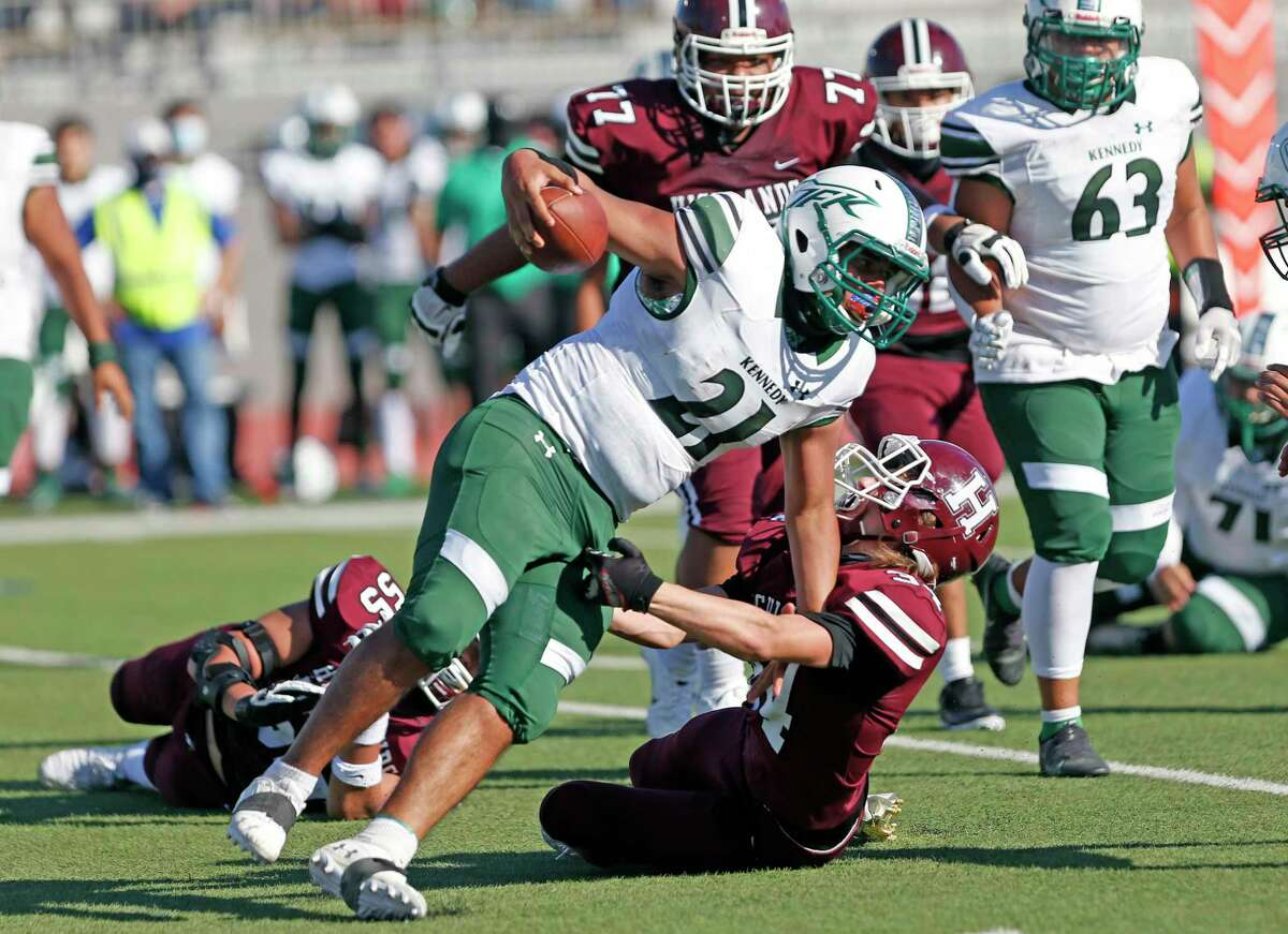 Kennedy Daniel Sanchez is thrown for a loss by Highlands Timothy Brehm,34. Kennedy at Highlands at Alamo Stadium on Saturday, November 7, 2020. Highlands 57, Kennedy 8