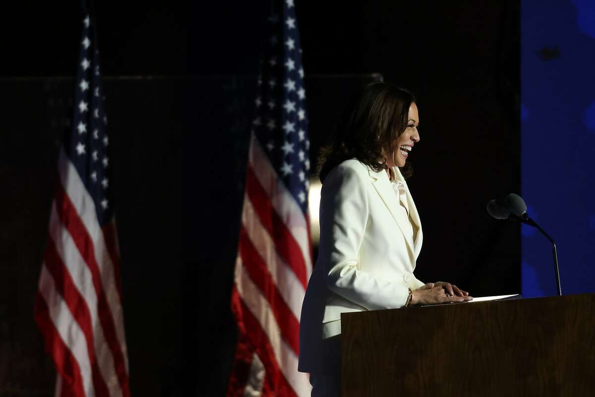 Vice President-elect Kamala Harris addresses the nation from the Chase Center in Wilmington, Del., on Saturday.