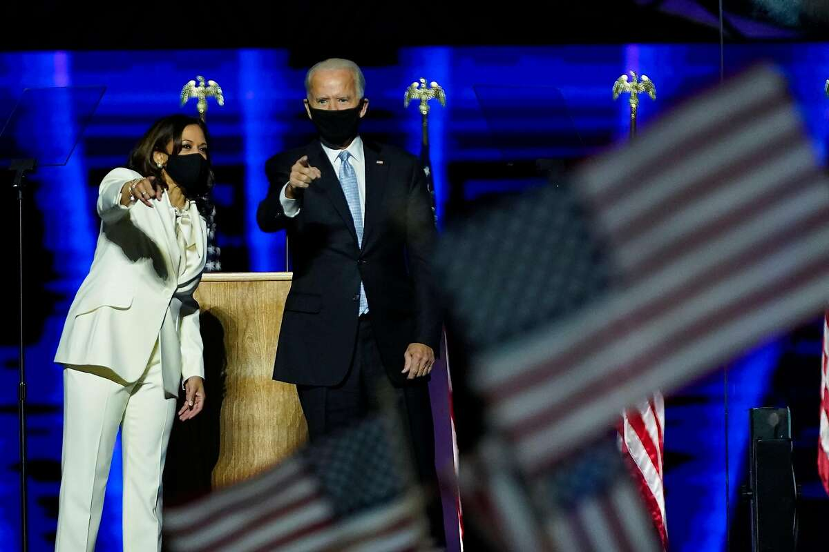 US President-elect Joe Biden and Vice President-elect Kamala Harris deliver remarks in Wilmington, Delaware, on November 7, 2020, after being declared the winners of the presidential election.