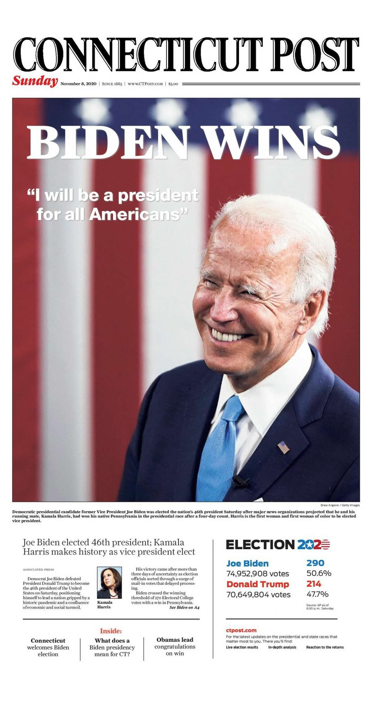 The Connecticut Post's front page, Nov. 8, 2020.