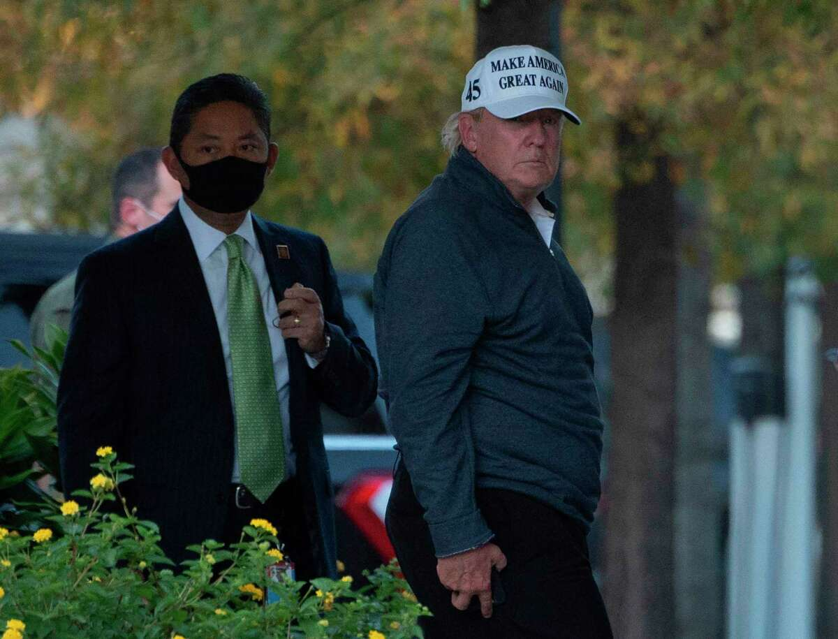 President Donald Trump returns to the White House from playing golf Saturday at his club in Virginia.