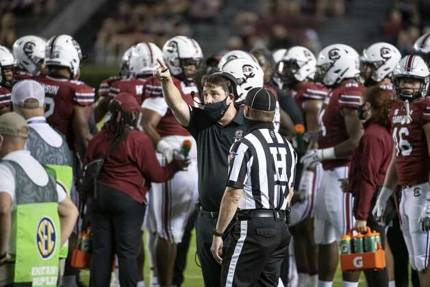 South Carolina coach Will Muschamp points to the video screen during the first half of the team's NCAA college football game against Texas A&M on Saturday, Nov. 7, 2020, in Columbia, S.C. (AP Photo/Sean Rayford) Photo: Sean Rayford/Associated Press / The Associated Press