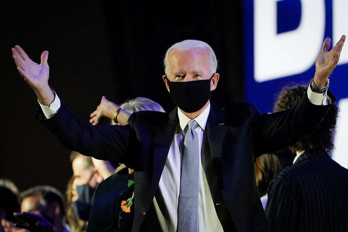 President-elect Joe Biden gestures after speaking to the nation at the Chase Center November 07, 2020 in Wilmington, Delaware.