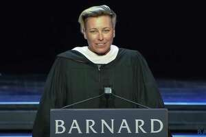 """Abby Wambach's book """"Wolfpack"""" is an extension of a 2018 graduation speech at Barnard College. (YouTube)"""
