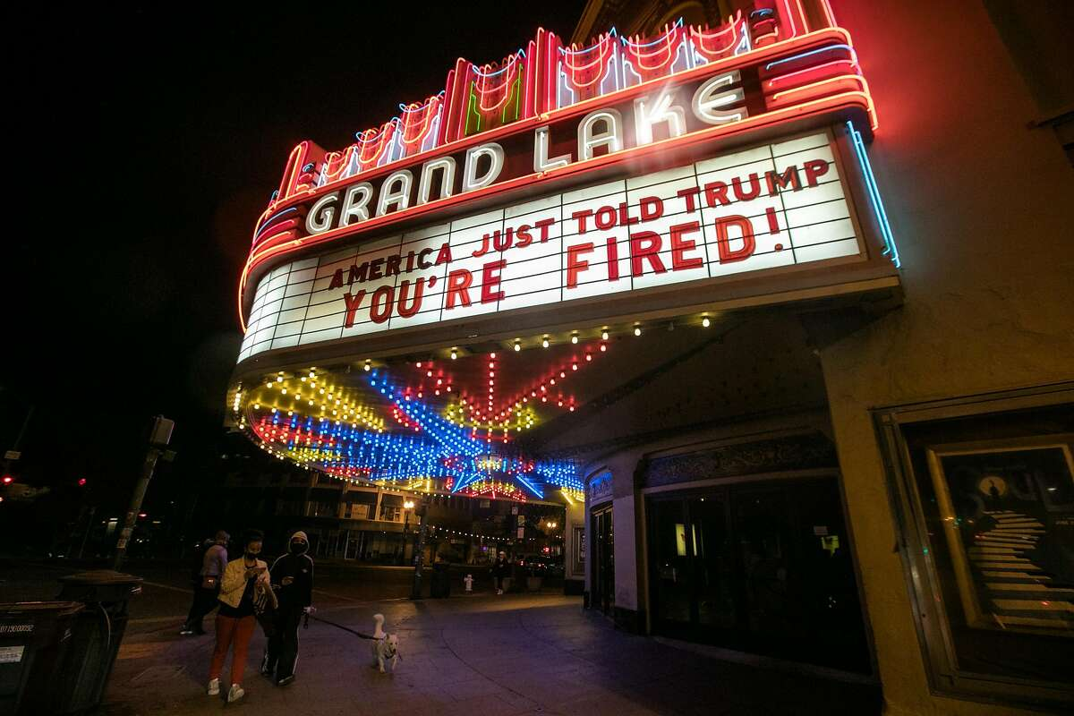 The marquee at Oakland's Grand Lake Theater, known for its politic messages was changed to reflect Donald Trump losing the US Presidential election to Joe Biden in Oakland, Calif. on Nov. 7, 2020.