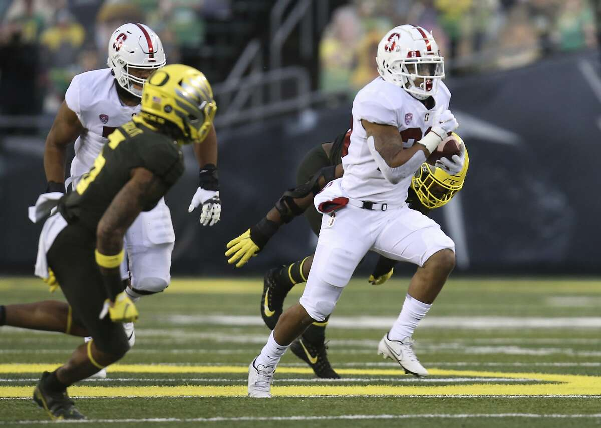 Stanford sophomore running back Austin Jones, breaking away against Oregon, ran for 100 yards and two touchdowns.