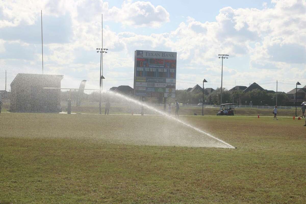 The sprinklers suddenly came on just as the second half was getting under way, leading to a long delay in the contest.