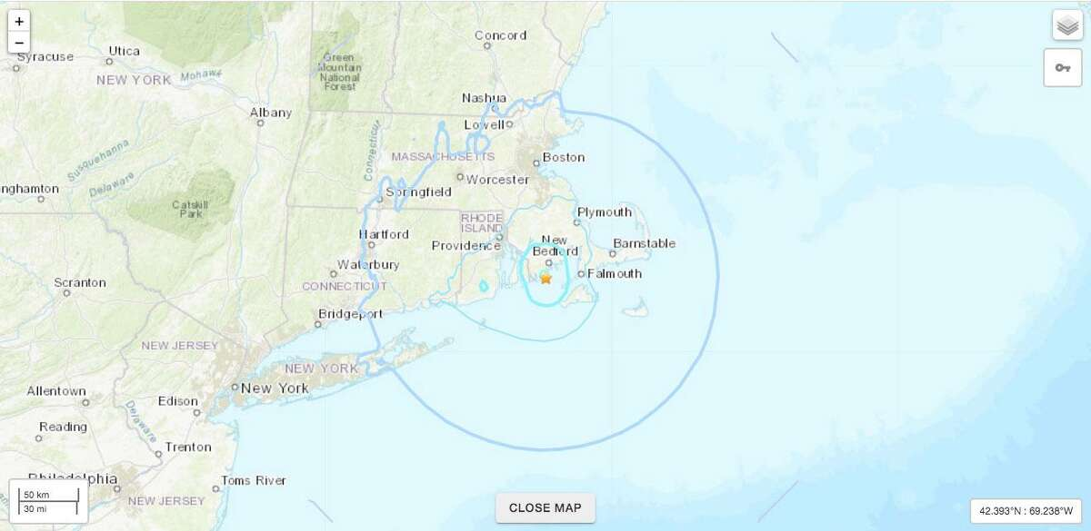 The U.S. Geological Survey reports that a 4.2 magnitude earthquake centered in Buzzard's Bay off Massachusetts could have been felt by some in Connecticut.