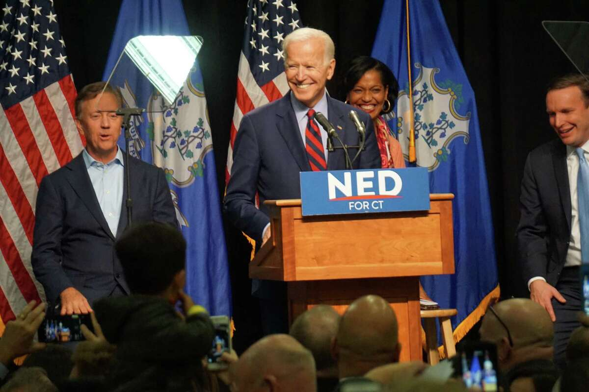 Joe Biden campaigning for Ned Lamont, Jahana Hayes and Chris Murphy in 2018. Lamont was the first to return the favor.