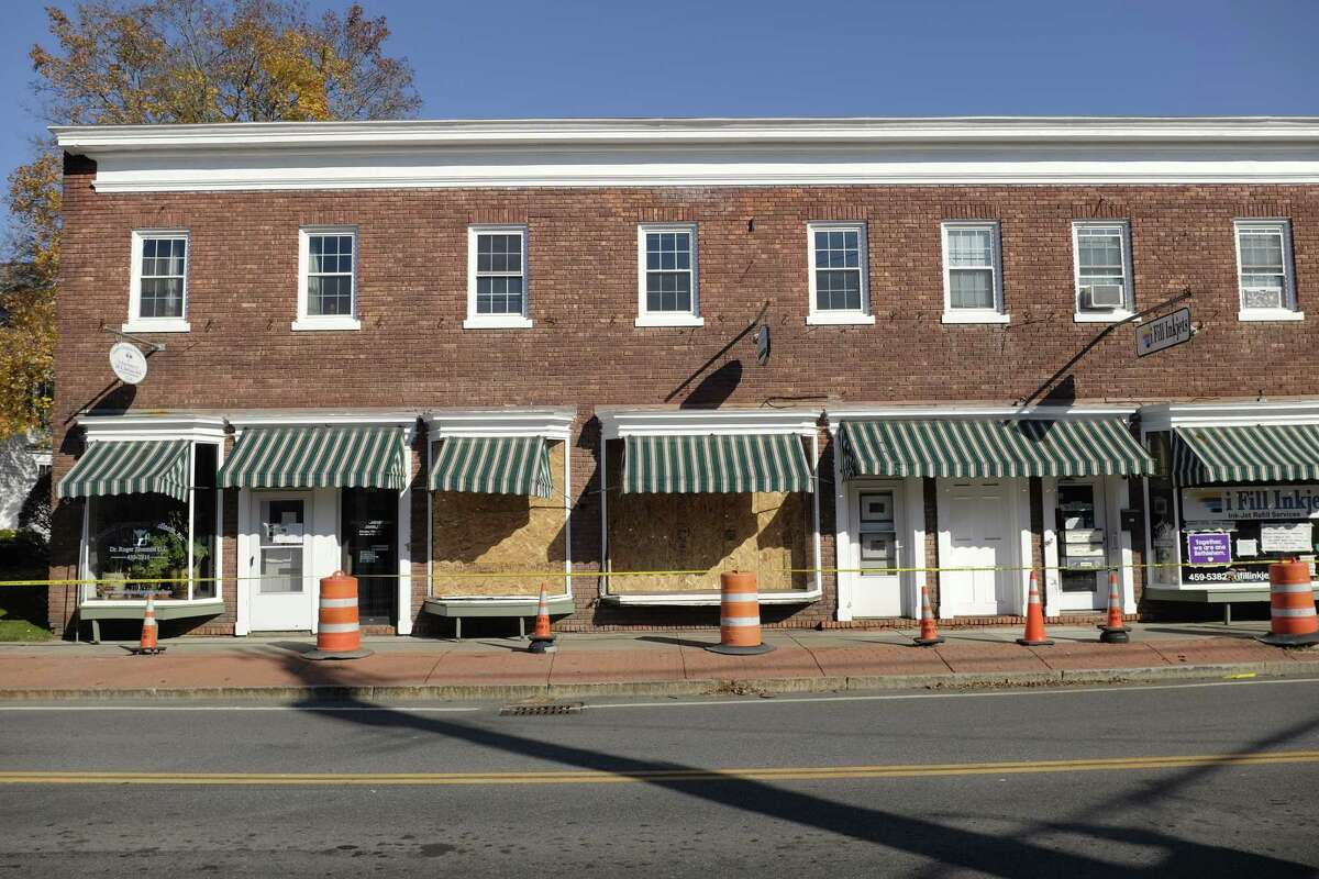 A view of the businesses damaged when on driver in a car drove up onto the sidewalk striking some of the buildings, seen here on Sunday, Nov. 8, 2020, in Delmar, N.Y. (Paul Buckowski/Times Union)