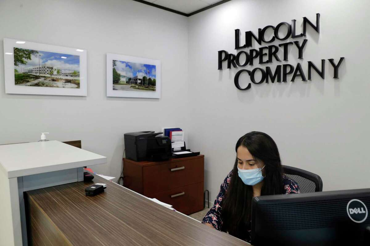 Stephanie Rivera, property administrator, in the lobby at Lincoln Property Company in their Westheimer Rd. Offices Thursday, Oct. 15, 2020 in Houston, TX.