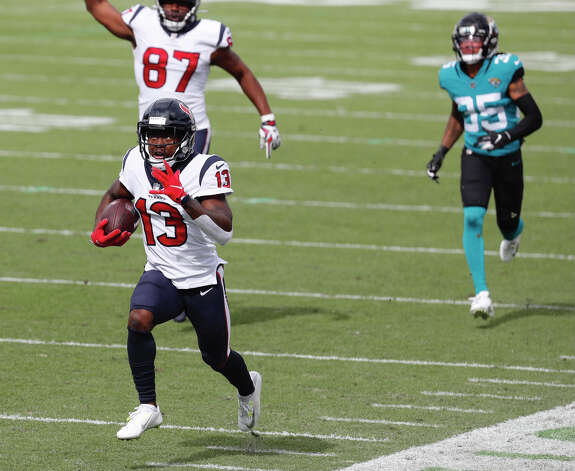 Houston Texans wide receiver Brandin Cooks races to a 57-yard touchdown reception against the Jacksonville Jaguars during the first half an NFL football game at TIAA Bank Field Sunday, Nov. 8, 2020, in Jacksonville, Fla. Photo: Brett Coomer, Staff Photographer / 2020 Houston Chronicle