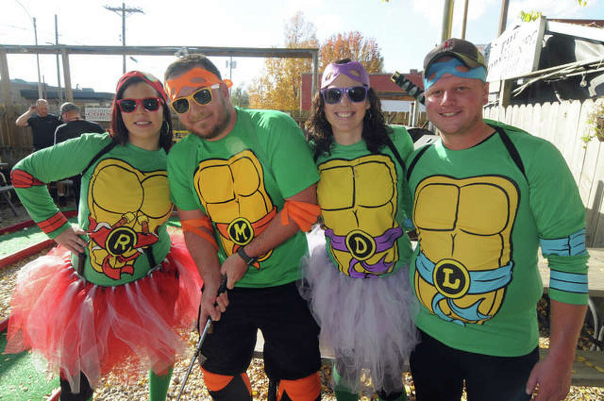 The Ninja Turtles team assembled for the Highland Jaycees Putt Putt event on Saturday included Katie Schmidt, Matthew Caudle, Trisha Gaffner and Nick Korte.