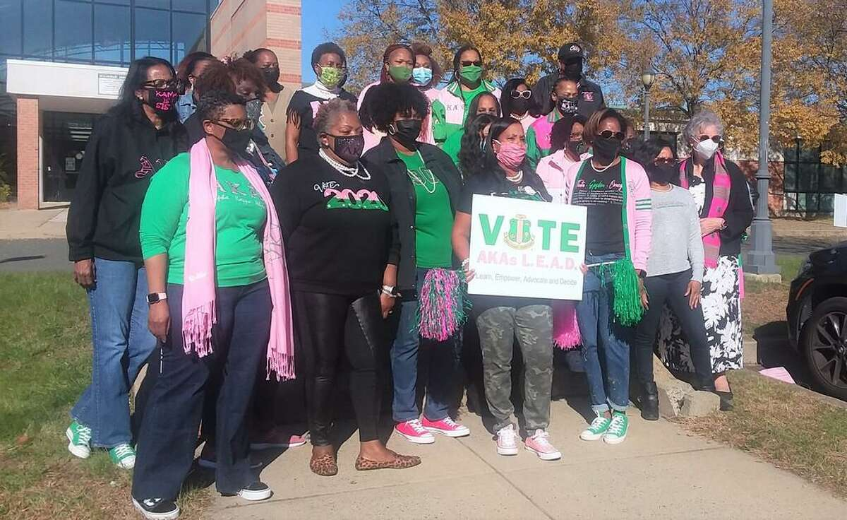 Members of the Alpha Kappa Alpha Sorority Inc. from across the state gathered Sunday to celebrate that their sister Kamala Harris is now vice president-elect.