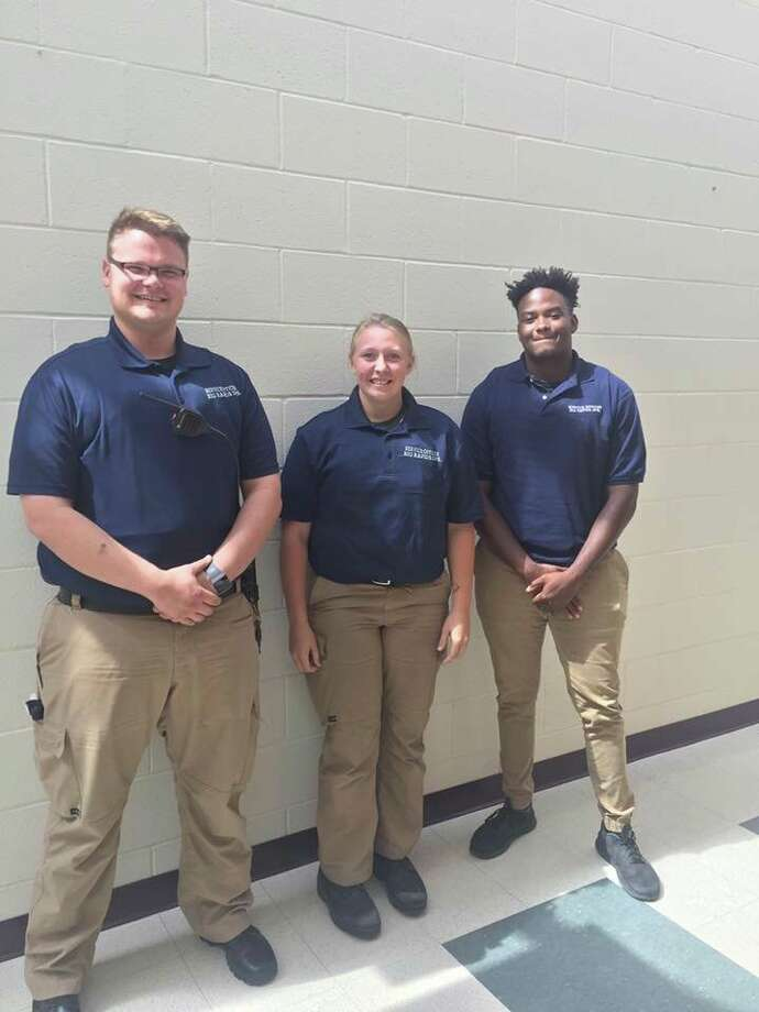 (From left) Service officers Andrew Hartung, Samantha Spring and Edward Lynn, with the Big Rapids Department of Public Safety help with a variety of administrative functions with the agency. Hartung said he plans to attend police academy and eventually move into the police division with the city. (Courtesy photo)