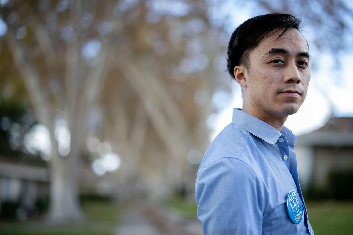 Gig worker Alex Lee, 25, won a state assembly seat representing San Jose and is the youngest state assemblyman on record and also first openly bisexual candidate Friday 06 November 2020 in San Jose, CA.