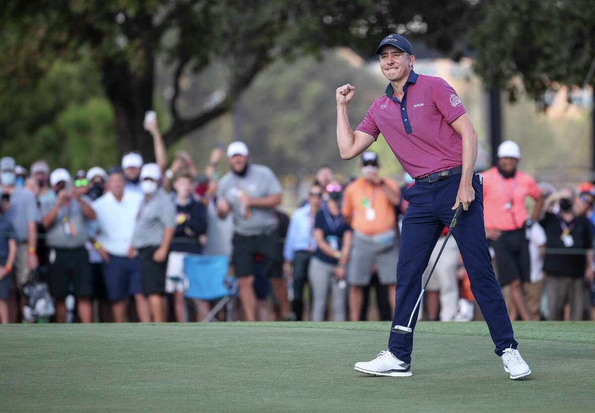 Carlos Ortiz celebrates after sinking his putt on the 18th hole to win the Houston Open on Sunday, Nov. 8, 2020, at Memorial Park Golf Course in Houston.