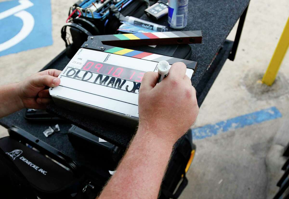 Drake Montana fills out a slate before filming starts for Old Man Jackson, a movie written and directed by Houstonian Johnny Ray Gibbs in Houston on Sunday, Nov. 8, 2020.