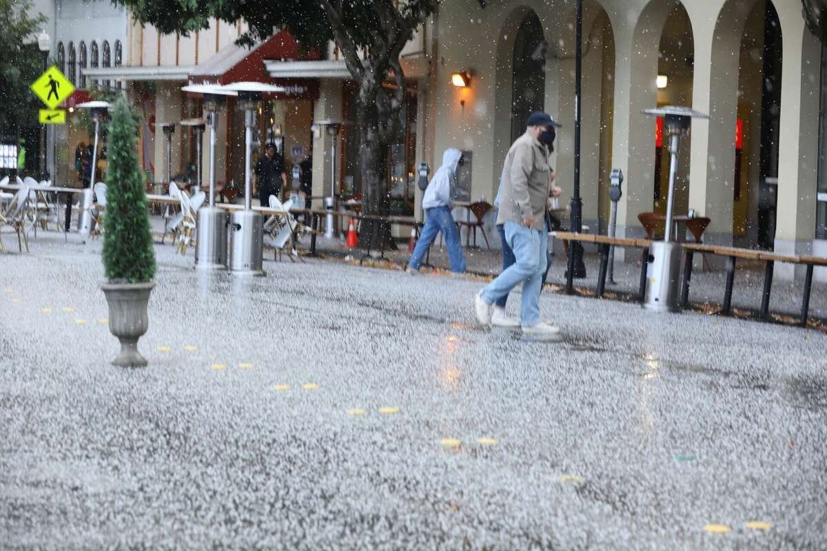 A hail storm moved across Marin County, Nov. 8, 2020.