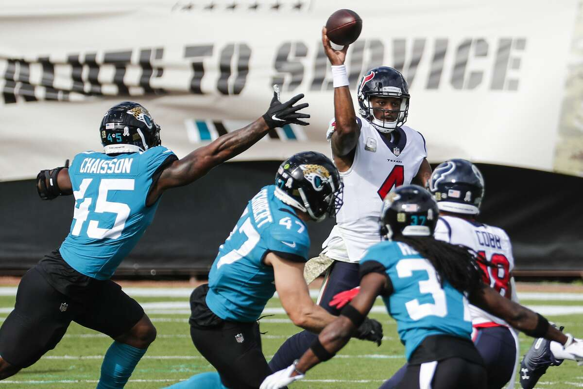 Houston Texans quarterback Deshaun Watson (4) throws a pass against the Jacksonville Jaguars during the first half of an NFL football game at TIAA Bank Field Sunday, Nov. 8, 2020, in Jacksonville.