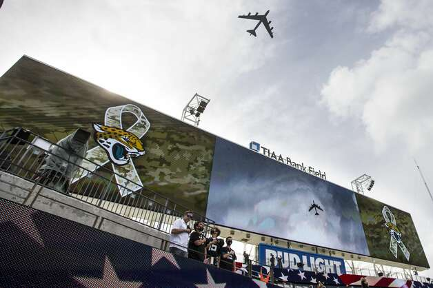 An Air Force B-52 does a flyover before an NFL football game between the Houston Texans and the Jacksonville Jaguars at TIAA Bank Field Sunday, Nov. 8, 2020, in Jacksonville. Photo: Brett Coomer/Staff Photographer / © 2020 Houston Chronicle