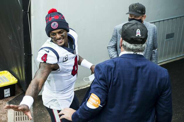 Houston Texans quarterback Deshaun Watson (4) shakes hands with Texans CEO Cal McNair after the Texans 27-25 win over the Jacksonville Jaguars in an NFL football game at TIAA Bank Field Sunday, Nov. 8, 2020, in Jacksonville. Photo: Brett Coomer/Staff Photographer / © 2020 Houston Chronicle