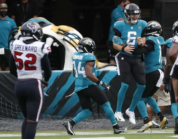 Jacksonville Jaguars quarterback Jake Luton (6) celebrates his 13-yard touchdown run against the Houston Texans during the second half of an NFL football game at TIAA Bank Field Sunday, Nov. 8, 2020, in Jacksonville. Photo: Brett Coomer/Staff Photographer / © 2020 Houston Chronicle