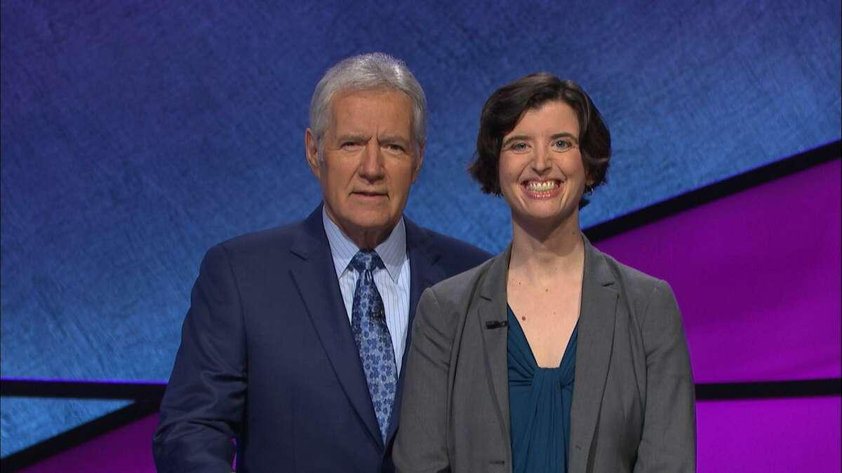 Katherine Fink with Jeopardy host Alex Trebek