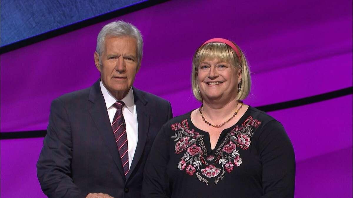 Fran Fried with Jeopardy! host Alex Trebek