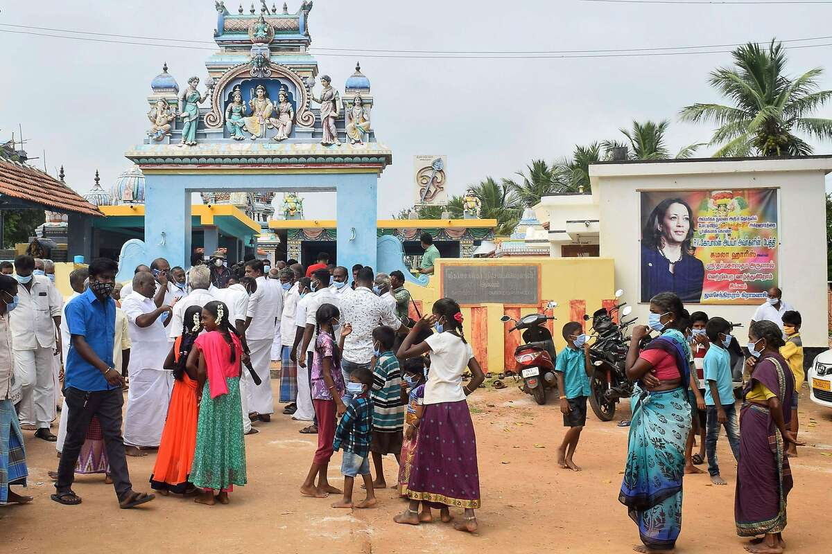 Residents offer prayers for the victory of Vice President-Elect Kamala Harris at a temple in her ancestral village of Thulasendrapuram in the southern Indian state of Tamil Nadu.