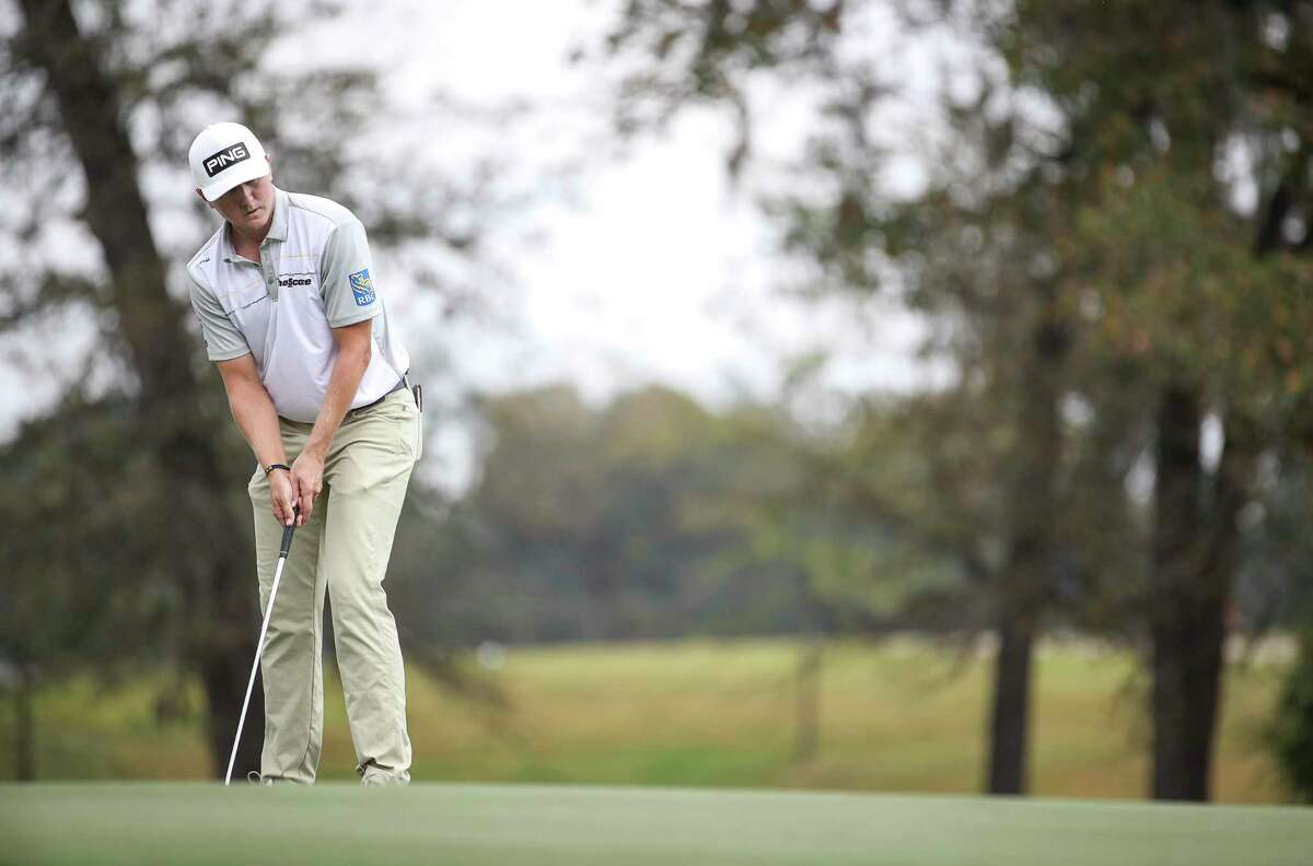 Mackenzie Hughes putts on the 13th hole during the fourth round of the Vivint Houston Open on Sunday, Nov. 8, 2020, at Memorial Park Golf Course in Houston.