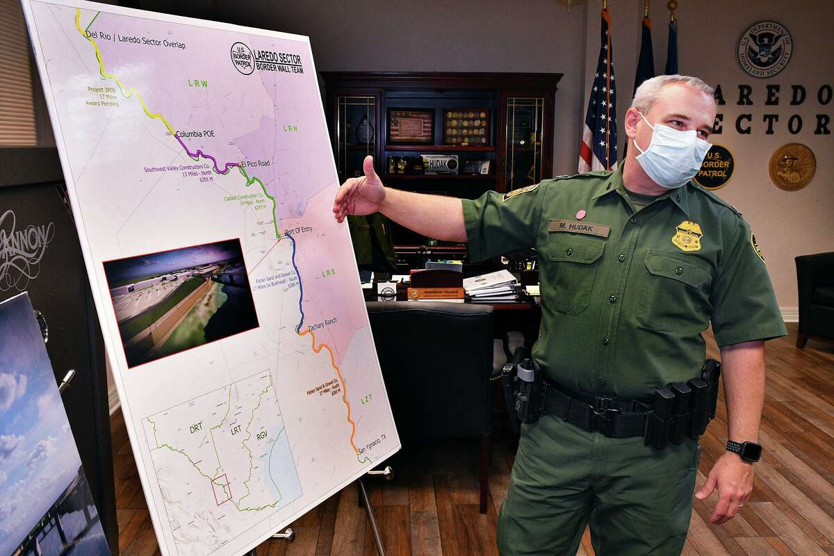Matthew J. Hudak, United Stated Border Patrol Chief Patrol Agent of Laredo Sector, stands next to a map outlining his sector at his office, on Tuesday, October 27, 2020.