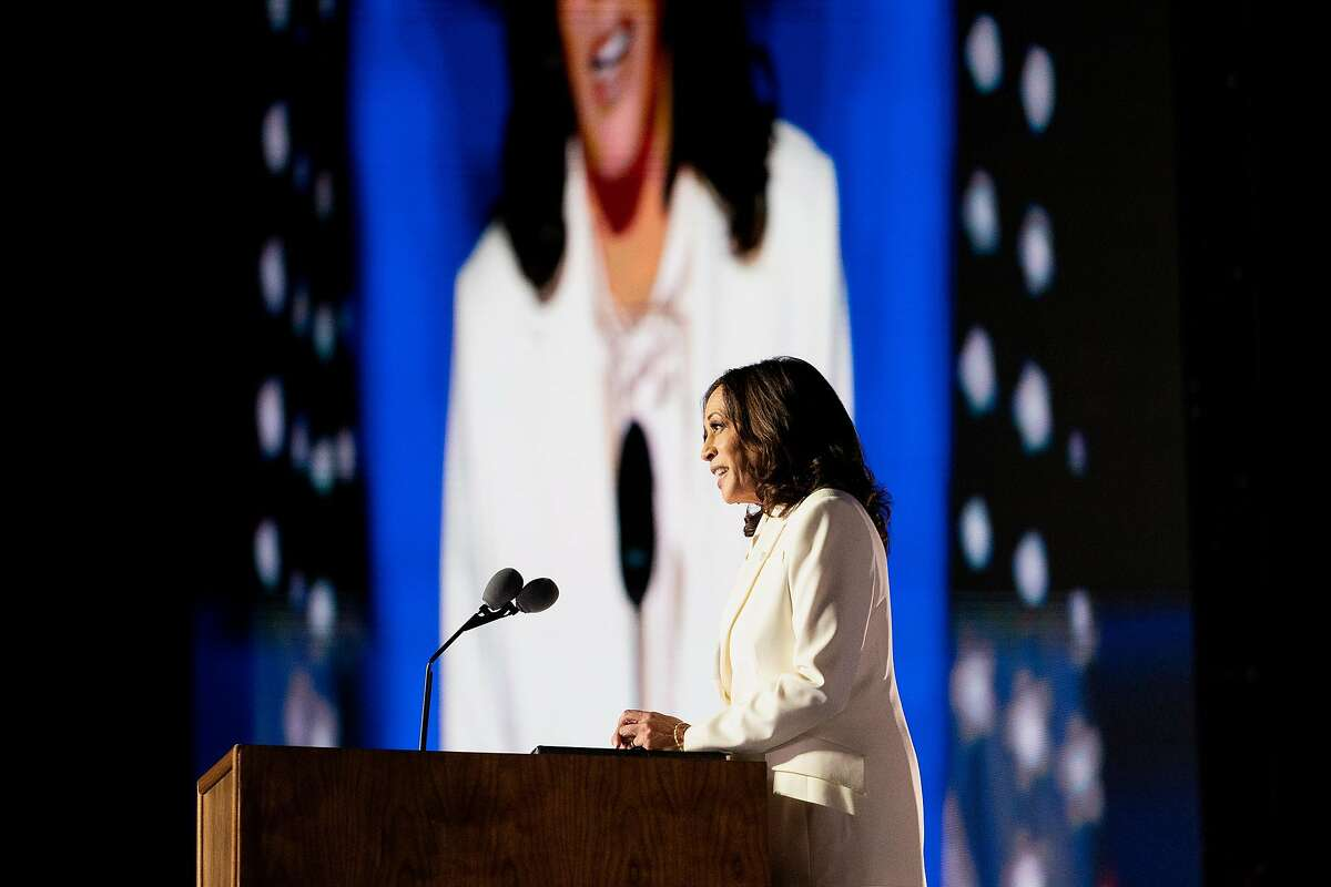 Vice President-elect Kamala Harris speaks Saturday night in Wilmington, Del.