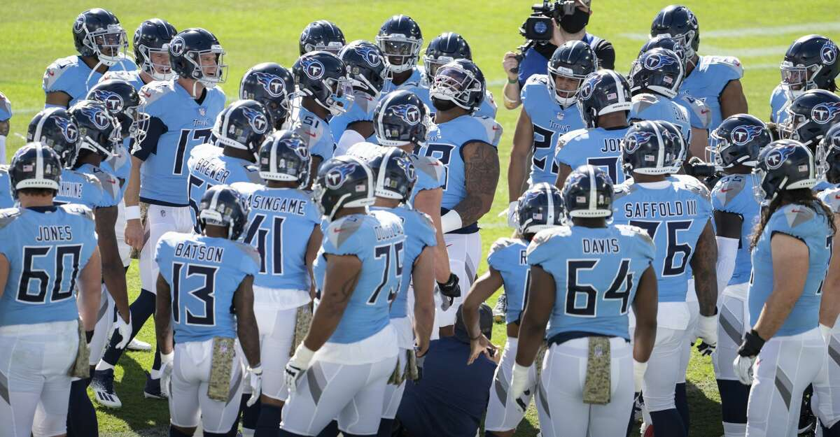 The Tennessee Titans prepare to take on the Chicago Bears in an NFL football game, Sunday, Nov. 8, 2020, in Nashville, Tenn. (AP Photo/Joe Howell)